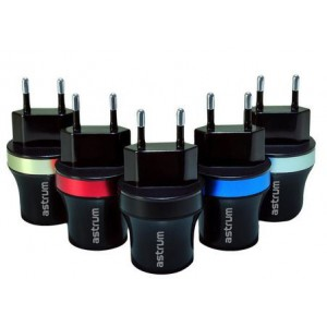Astrum Dual USB Car Charger 2.1A Output EU - Black