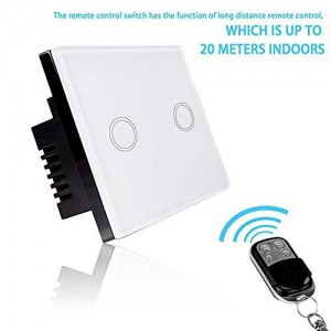 Smart RF Touch Remote Control Light Switch 2 Gang