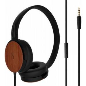 Hoomia Headphone with Mic - Black + Wood
