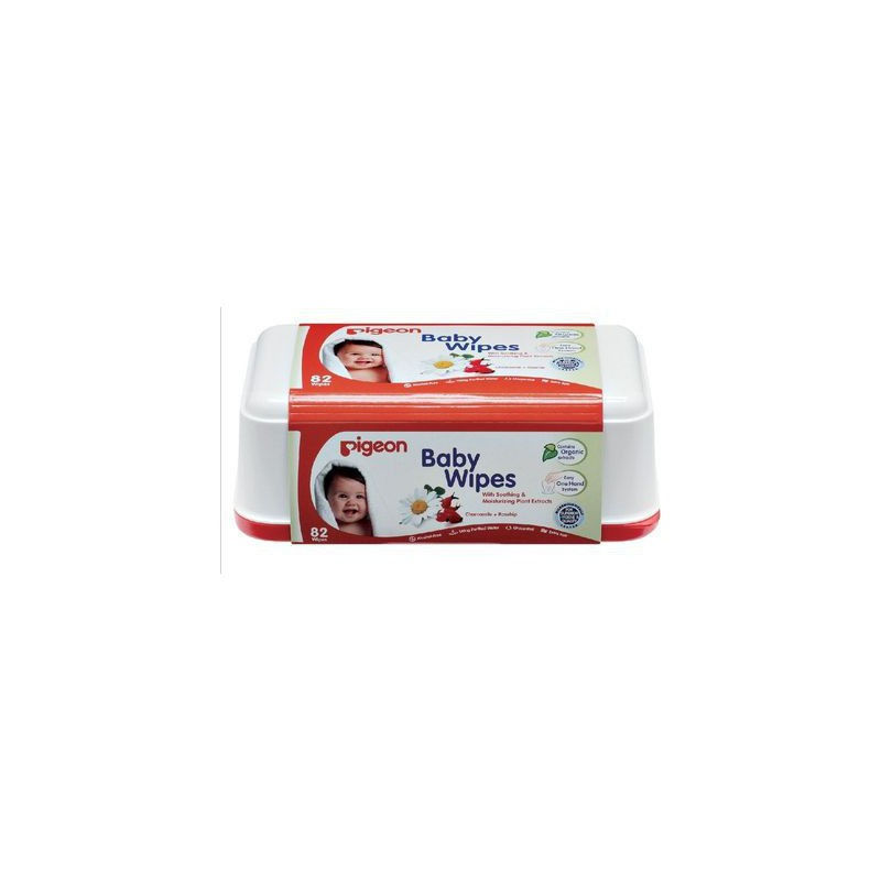 Pigeon Baby Wipes 82's With Chamrose Tub
