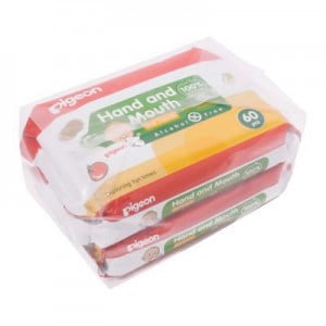 Pigeon 2-In-1 Hand & Mouth Baby Wipes - 60's