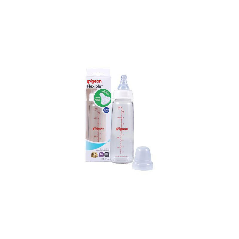 Pigeon Flexible Glass Bottle with Peristaltic Nipple 240ml