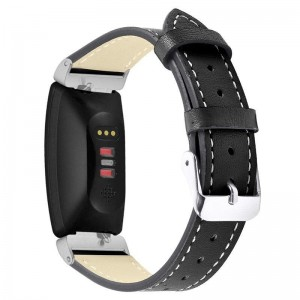 TUFF-LUV Leather Strap for Fitbit Inspire/Inspire HR - Large - Black