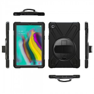 TUFF-LUV Armour Jack Rugged Case and stand & Shoulder strap for Samsung S5E 10.5 T720 T725 - Black
