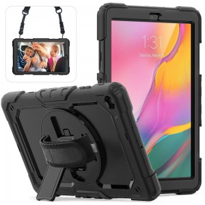 TUFF-LUV Armour Jack Case Rugged (Shoulder & Hand Strap & stand and Pen/Stylus Holder) For Samsung 10.1 LTE T510/T515 - Black