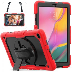 TUFF-LUV Armour Jack Case Rugged (Shoulder & Hand Strap & stand and Pen/Stylus Holder) For Samsung 10.1 LTE T510/T515 - Red