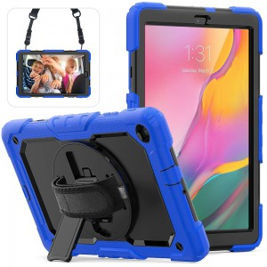 TUFF-LUV Armour Jack Case Rugged (Shoulder & Hand Strap & stand and Pen/Stylus Holder) For Samsung 10.1 LTE T510/T515 - Blue