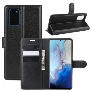 TUFF-LUV Essentials Leather Folio Case & Stand for Samsung Galaxy S20 5G - Black
