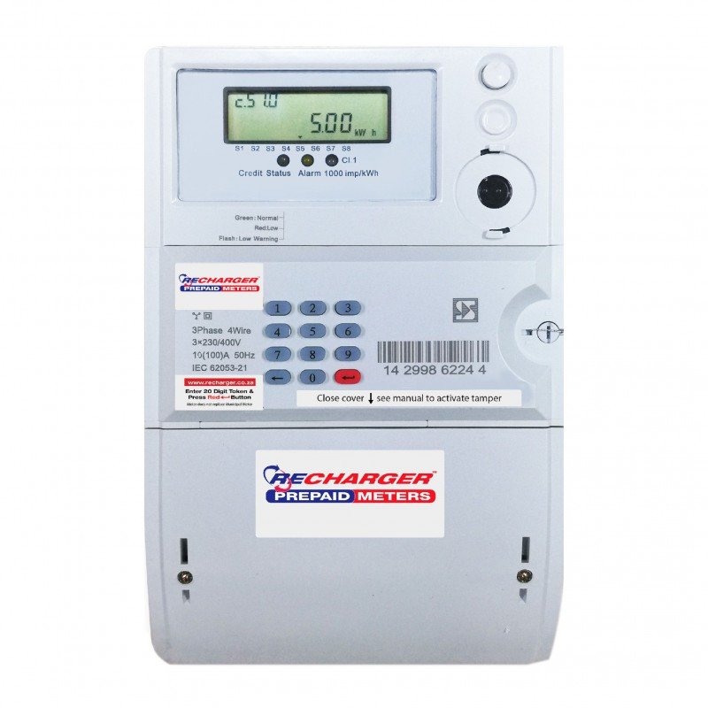 Recharger 3 Phase Prepaid Electricity Meter 100AMP