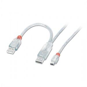 Lindy 2m 2x Type A USB M-USB Mini B M 20cm