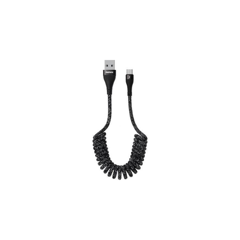Remax 24 - 40 cm Coiled USB to Micro Cable - Black