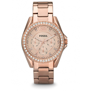 Fossil Women's Riley Quartz Stainless Steel Multifunction Glitz Watch - Rose Gold
