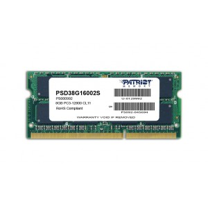 Patriot SL 8GB 1600MHz DDR3 SO Dimm DS Memory