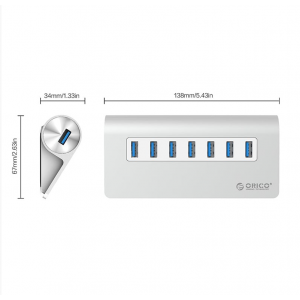 ORICO 7 Port USB3.0 Hub Aluminium – Silver