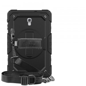 """TUFF-LUV Armour Jack Rugged case (Shoulder & hand Strap, Stand & Pen loop) For Samsung Galaxy Tab A 10.5"""" T590 /T595  - Black"""