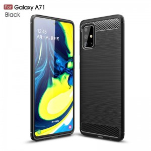 TUFF-LUV Carbon Fibre Style Shockproof Case for Samsung Galaxy A71 -Black