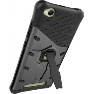 Tuff-Luv Hybrid Combination Case with Holder for Xiaomi Redmi 4A (Black)