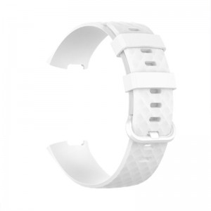 Fitbit Charge 3 Silicone Watch Strap with Plastic Buckle (Large) -White