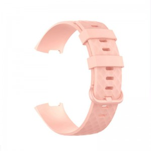 Fitbit Charge 3 Silicone Watch Strap with Plastic Buckle (Large) -Soft Pink