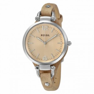Fossil Women's Georgia Quartz Stainless Steel and Leather Watch - Brown