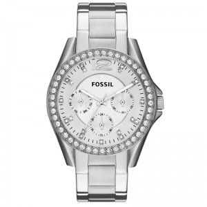 Fossil Women's Riley Quartz Stainless Steel Multifunction Glitz Watch - Silver