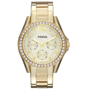 Fossil Women's Riley Quartz Stainless Steel Multifunction Glitz Watch - Gold
