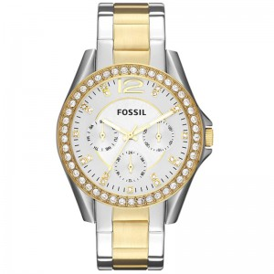 Fossil Women's Riley Quartz Stainless Steel Multifunction Glitz Watch - Two-Tone Silver/Gold