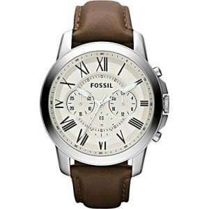 Fossil Men's Grant Chronograph Beige Quartz Stainless Steel and Leather Watch - Brown