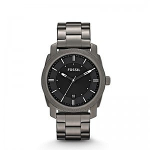 Fossil Men's Machine Smoke Stainless Steel and Leather - Grey