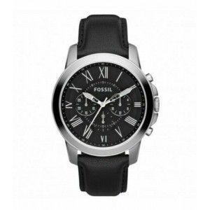 Fossil Men's Grant Chronograph Quartz Stainless Steel and Leather Watch - Black