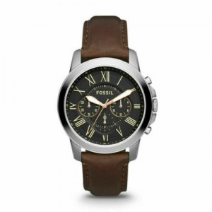 Fossil Men's Grant Chronograph Black Quartz Stainless Steel and Leather Watch - Brown