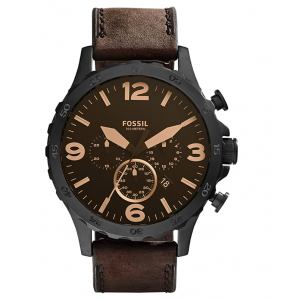 Fossil Men's Nate Quartz Stainless Steel and Leather Watch - Black/Brown