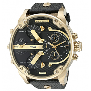 Diesel Men's Mr Daddy 2.0 Stainless Steel and Leather Chronograph Quartz Watch - Black Leather/Gold