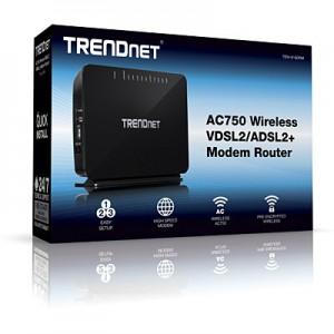 TRENDnet AC750 Dual Band Wireless VDSL2/ADSL2+ Router 4 Gb LAN 1 Gb WAN 1 RJ11 2 USB