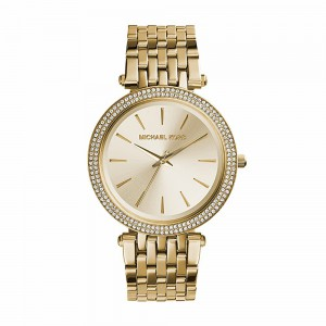Michael Kors Women's Darci Three-Hand Analog Quartz Watch with Glitz Accents - Gold