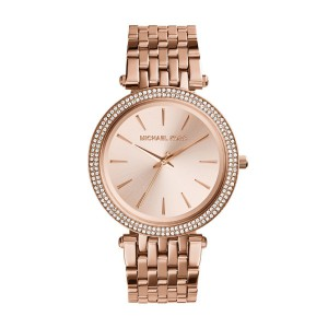 Michael Kors Women's Darci Three-Hand Analog Quartz Watch with Glitz Accents - Rose Gold