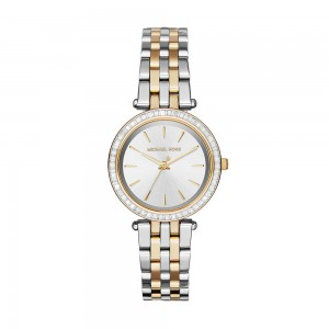Michael Kors Women's Darci Three-Hand Analog Quartz Watch with Glitz Accents - Silver/Gold