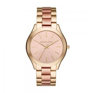 Michael Kors Women's Mini Slim Runway Analogue Quartz Watch - Gold/Rose Gold