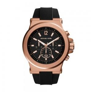 Michael Kors Men's Dylan Chronograph Analogue Quartz Watch - Black/Rose Gold