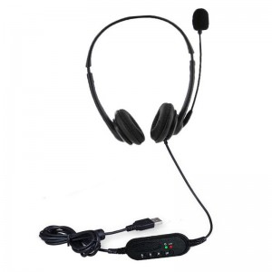 Tuff-Luv USB Dual Headset with Microphone and Volume Control - Black