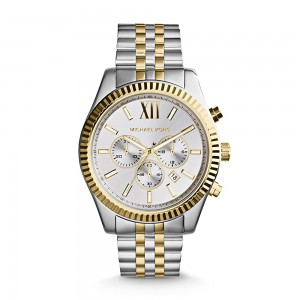 Michael Kors Lexington Chronograph Stainless Steel Watch - Silver/Gold