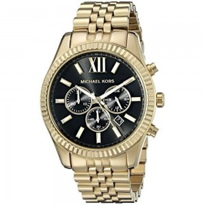 Michael Kors Lexington Chronograph Stainless Steel Watch - Gold/Black
