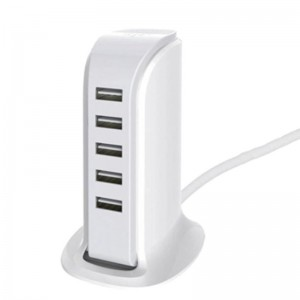 5 Port Universal Multi USB Charger 6A USB Hub (30W) - White