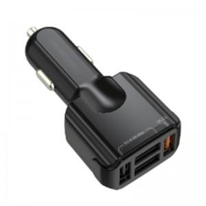 4 Port Multi USB Car Cigarette Lighter Charger QC3.0 - Black
