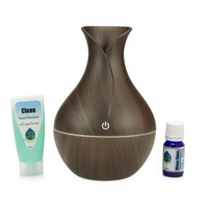 Oilgrow Starter Kit 1 - Kitchen/Living Room: Minus Sinus + Petal USB Ultrasonic Diffuser + Clean Hand Sanitiser