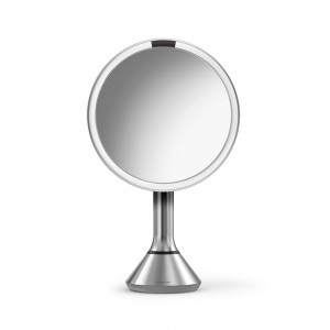 simplehuman 20cm SENSOR MIRROR - TOUCH CONTROL BRIGHTNESS - 5X MAG - RECHARGEABLE - BRUSHED S/STEEL