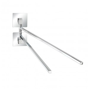 Wenko TURBO-LOC® TOWEL HOLDER W/ 2 MOBILE ARMS QUADRO RANGE - S/STEEL