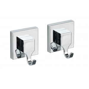Wenko VACUUM-LOC WALL HOOK QUADRO RANGE - SET OF 2