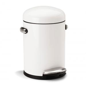 simplehuman 4.5L RETRO PEDAL BIN - WHITE S/STEEL