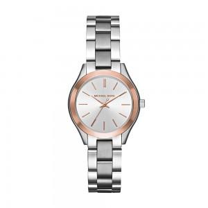 Michael Kors Women's Mini Slim Runway Analogue Quartz Watch - Silver/Rose Gold